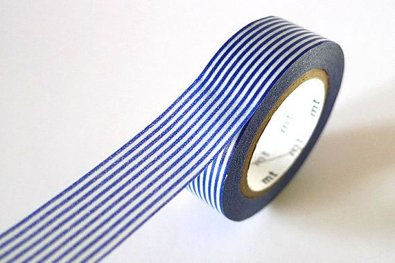 Navy Blue Washi Tape Horizontal Striped LINES 15mm Japanese MT Masking Tape - PrettyTape