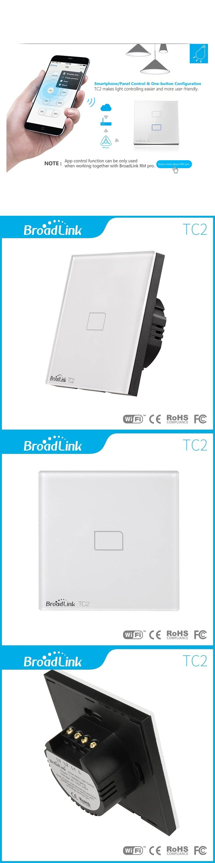 Broadlink EU Standard TC2 1 Gang Wireless Control Light Switch,Crystal Glass Panel Touch Wall Switch,Light Switch for Smart Home