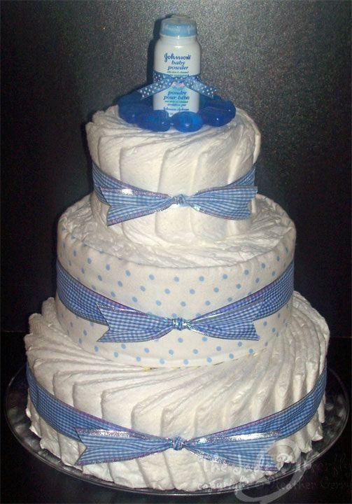 unique baby boy diaper cakes | Custom Ordered Baby Boy Diaper Cake