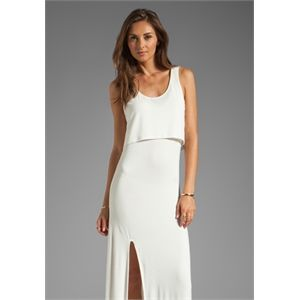 Lovers + Friends Hello Goodbye Maxi Tank Dress with Slit in White
