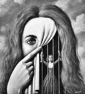 To me this art is saying that you show one thing but feel another. you can show happiness but still feel caged in with nobody to turn or talk to about your ...