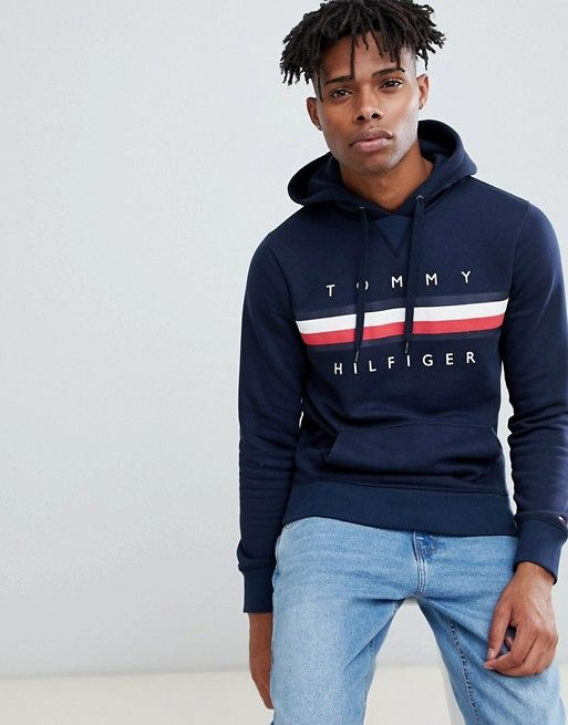 d0574bb52 Tommy Hilfiger Icon stripe logo print hoodie in navy in 2019 ...