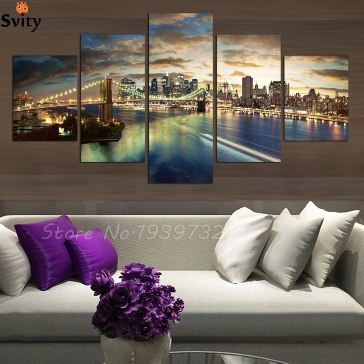 5 panel high quality New York City landscape Canvas Painting Large Wall Pictures For Living Room Custom no frame Direct Selling