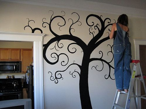 Even you can paint a tree mural! (tutorial that explains what you need to accomplish this)