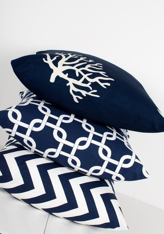 Navy Blue Pillow Cover. 16x16 inch. Coral Decor. by LilyPillow