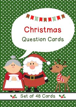 This set of 48 Christmas question prompts are great for during the holiday season. These task cards will help initiate conversations or can also be used as writing prompts. You can cut out these fun no prep Christmas question cards and ask the questions to your students, or use them for pair or group work.