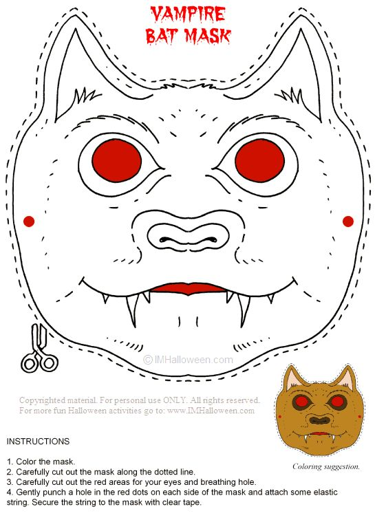 Vampire Mask Coloring Page Printout More Fun Activities And Pages At ImHalloween