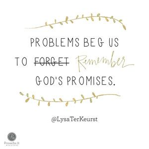 """""""Problems beg us to forget God's promises."""" Lysa TerKeurst // Ever felt like you've wanted to quit something? CLICK for encouragement to persevere and passionately follow God."""