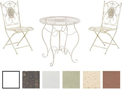 Elegant Garten Sitzgruppe ALDEANO Metall Eisen lackiert Design nostalgisch antik Tisch