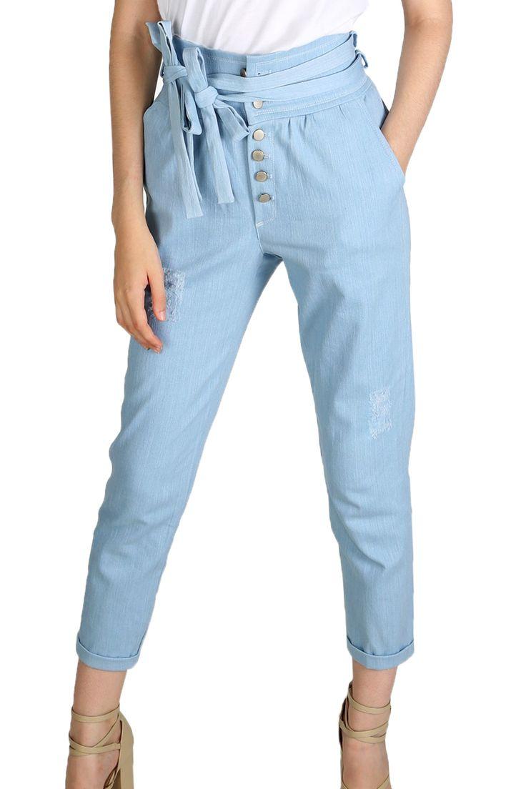 Location Jeans taille haute avec ceinture à nouer