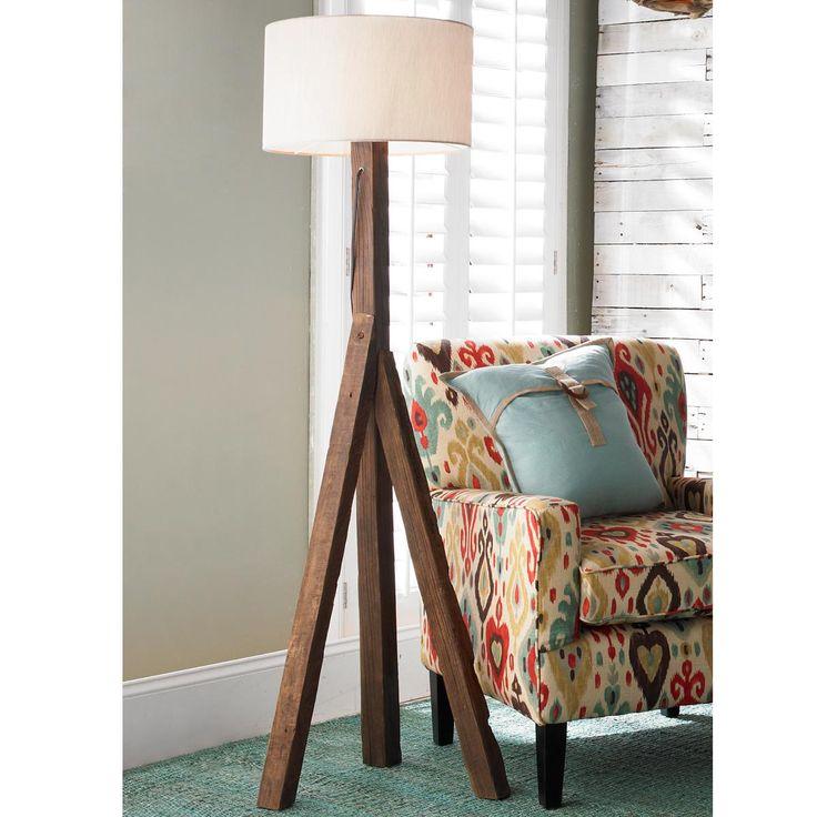 Three Legged Rustic Elm Floor Lamp
