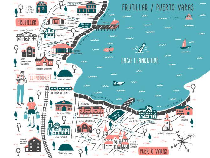 puerto montt chile map Mapa Frutillar Ilustrado Mapa Puerto Varas Ilustrado Illustrated puerto montt chile map