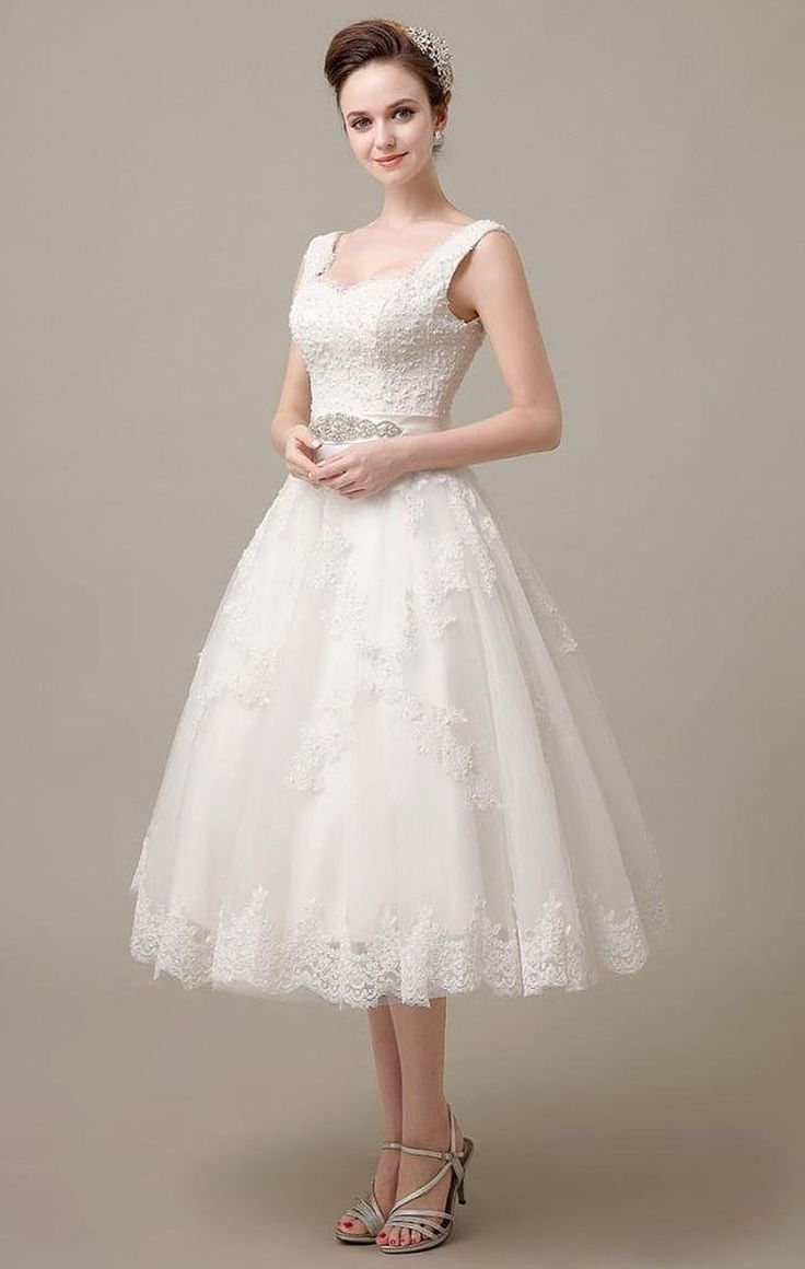 Shop discount Spaghetti Straps Tea-Length A-Line Lace Short Wedding Dress With Sash WNWD0037