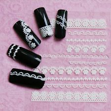 3D White Lace Crystal Nail Art Tips Stickers Wraps Decal Manicure Decoration DIY