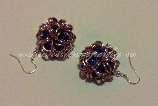 Růžovo modré náušnice - kuličky 120 Kč