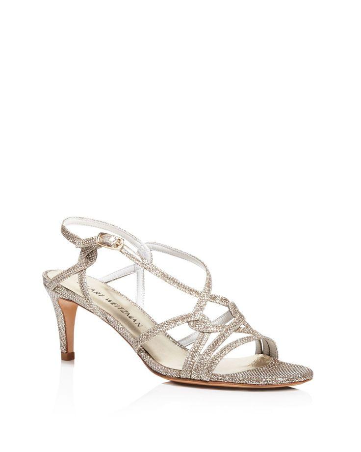 Stuart Weitzman | White Onmyway Metallic Mid Heel Sandals | Lyst