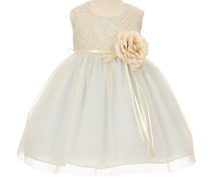 Mabel - Baby Lace Flower Girl Dress: Tiffany BlueStyle 1147 - Baby Flower Girl Dress in Blue This is the matching baby toddler flower girl dress for style 1147. Baby dresses are fully lined and come in sizes from new born to 18 months. This style is lace and tulle.