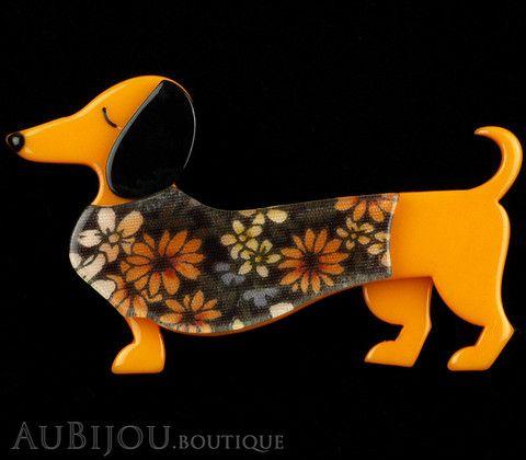 Erstwilder Brooch Pin Samuel the Silly Sausage Dachshund Dog Orange Gallery