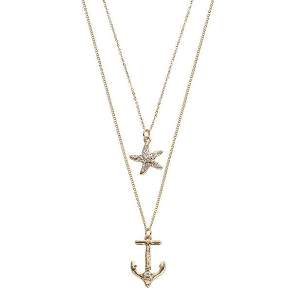Starfish & Anchor Pendant Layered Necklace (500 PHP) ❤ liked on Polyvore featuring jewelry, necklaces, gold, anchor chain necklace, chain necklace, chain pendants, cable chain necklace and gold tone necklace