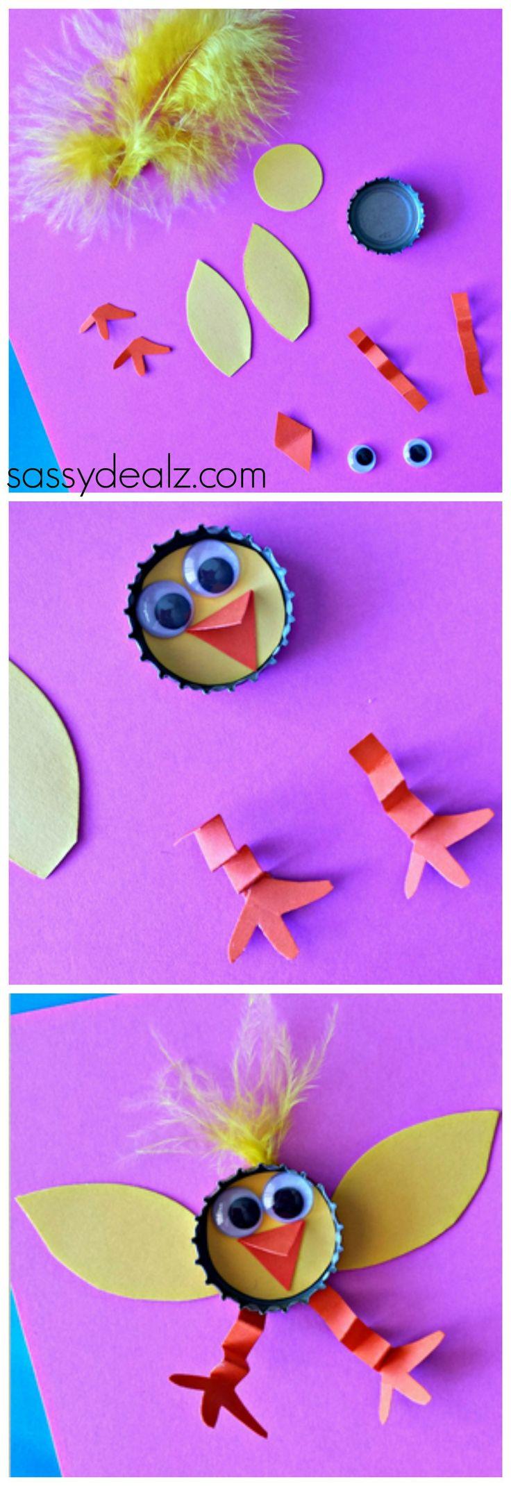 Bottle Cap Chick Craft for Kids! #Easter craft #DIY | CraftyMorning.com