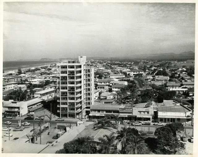 the first high-rise apartment block in Surfers Paradise in 1959-60 after having completed the Chevron Hotel and Lennon's Hotel (both now demolished) in the area. Kinkabool is a ten-storey building that stands right in the middle of Surfers Paradise and is now listed on the state's heritage register. Here is a photograph of the Surfers Paradise skyline shortly after the completion of Kinkabool. Its 34 units ranged in price from £3,000 to £5,000.