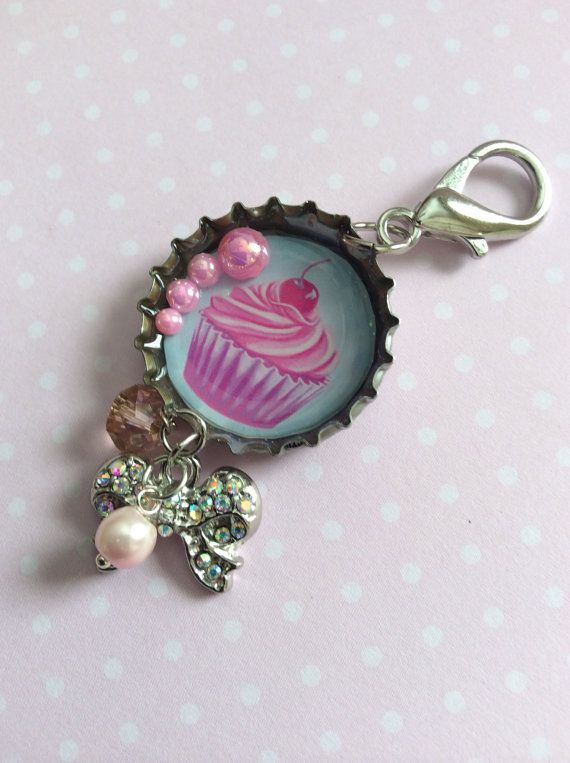 Kawaii Resin Bottle Cap Pendant, Resin Bottle Cap Charm, Cupcake Pendant, Necklace or Key Chain on Etsy, $15.00