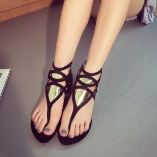 Barato Mulheres gladiador sandálias de salto tampa de proteção flats verão chinelos de couro praia, Compro Qualidade Sandálias das senhoras diretamente de fornecedores da China: