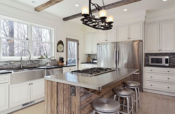 stainless steel island countertop with reclaimed wood