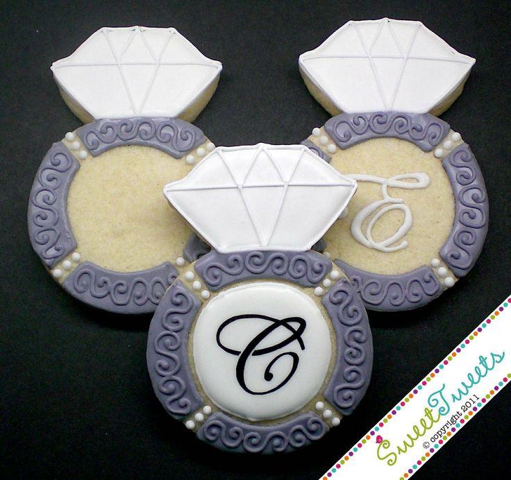 SweetTweets - Wedding Engagement Ring Cookies  - 1 dozen. $36.00, via Etsy.