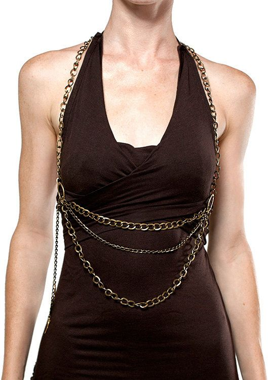 Brass Chain Halter  Body Chain one size fits all by ayapapaya