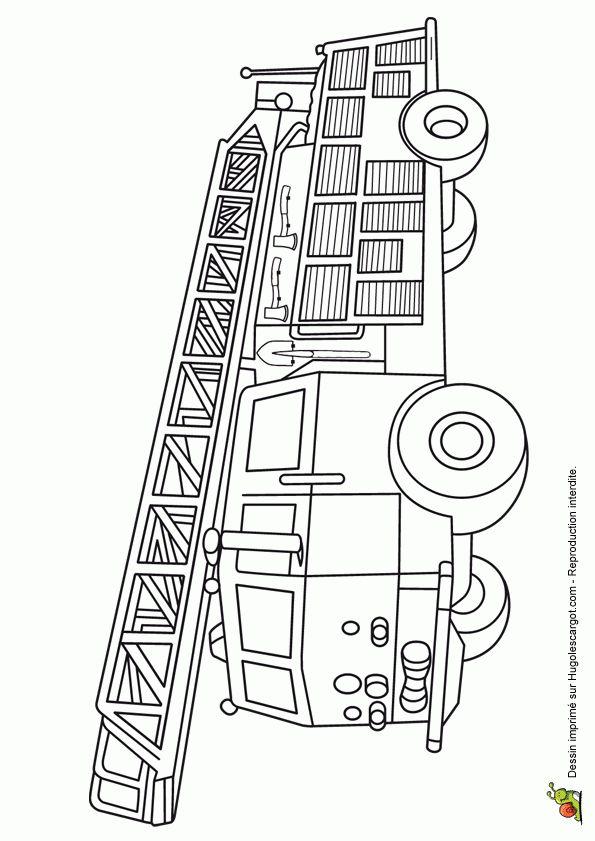 A colorier, un grand camion de pompier  avec la grande échelle