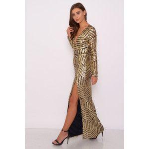 Long sleeve gold maxi dress