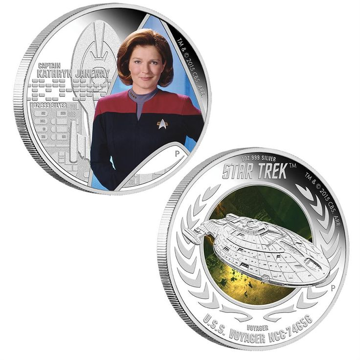Star Trek: Voyager - Captain Kathryn Janeway & U.S.S. Voyager NCC-74656 2015 1oz Silver Proof Two-Coin Set