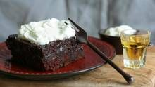 Chocolate poke cake with sweet bourbon cream (Stephanie Eddy) add bourbon to the chocolate filling too...use chocolate box cake to save time...