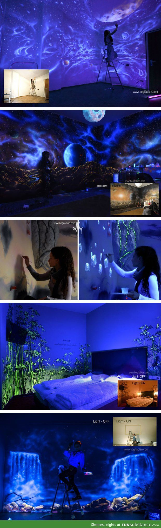 Artist uses glowing UV paint to decorate