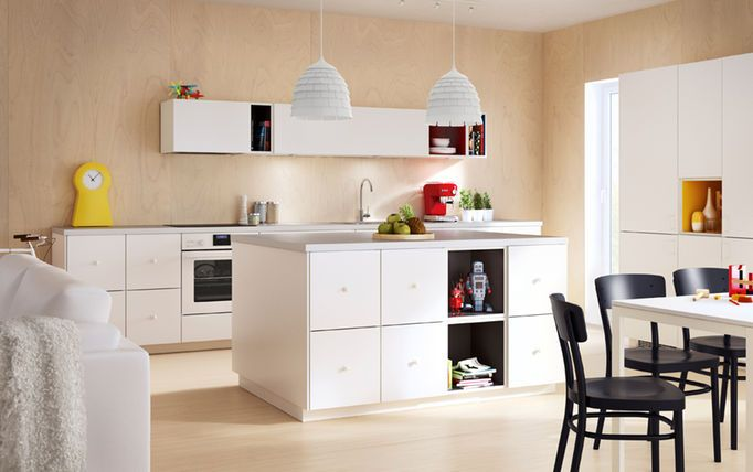 Modern IKEA kitchen ideas with white doors, drawers and worktops and coloured TUTEMO open cabinets.