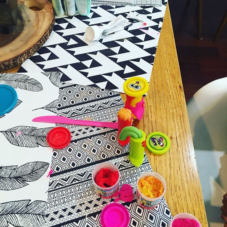 Using our placemats for play dough time