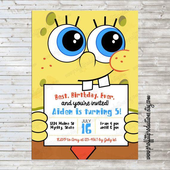 Modern Spongebob Birthday Party Invitation