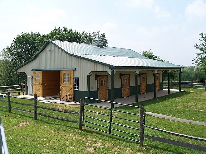 horse barn with outside stall doors