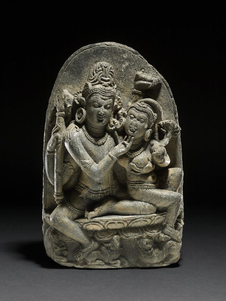 A stone figure of Shiva in amorous dalliance with Parvati on his knee 10th C. British Museum