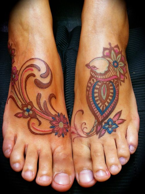 A paisley inspired tattoo design by Barbara Swingaling of a patterned bird and flowers « « Mayhem & Muse
