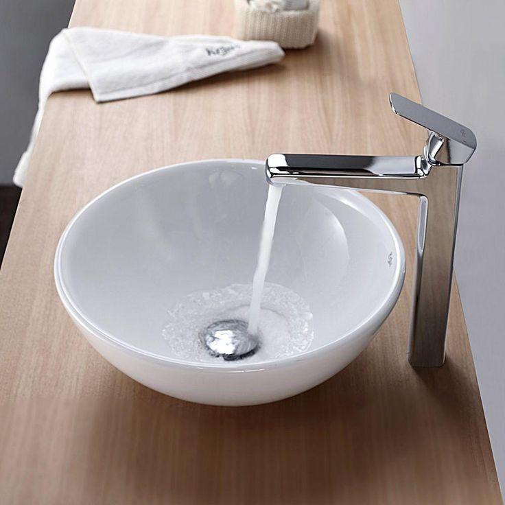 Kraus Soft Round Ceramic Vessel Bathroom Sink In White