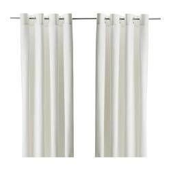 MERETE  Pair of curtains, bleached  $24.99  The price reflects selected options  Article Number:   401.119.87  Heavy fabric helps to reduce sound and keeps out light. Eyelet heading works on curtain rods.