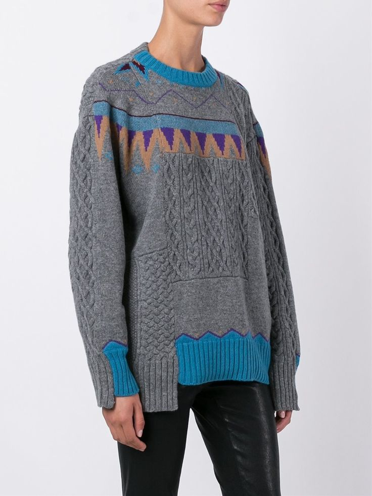 Sacai nordic patchwork jumper
