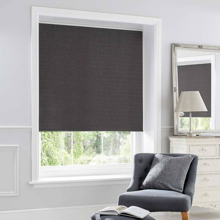 Charcoal Chenille Thermal Roller Blind | Dunelm