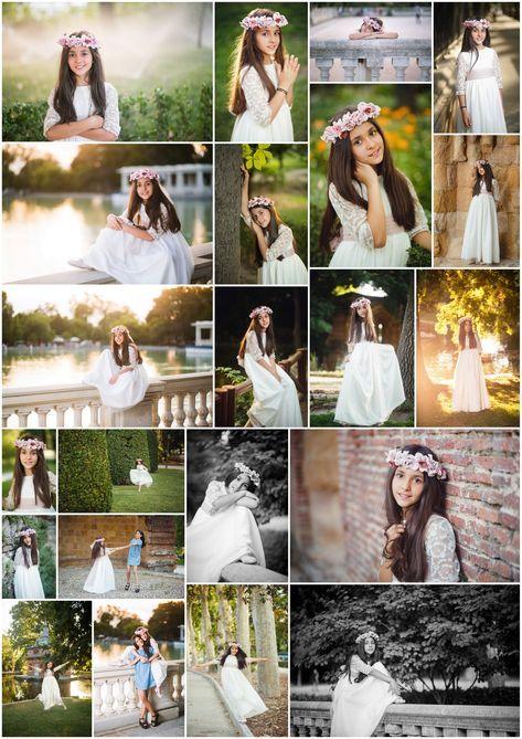 Sesion de fotos de niña con el traje de primera comunion en el parque de El Ret…