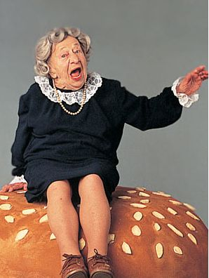 Where's The Beef?  i think this woman's name was Clara Peller, and she was the face of Wendy's for me as a child.