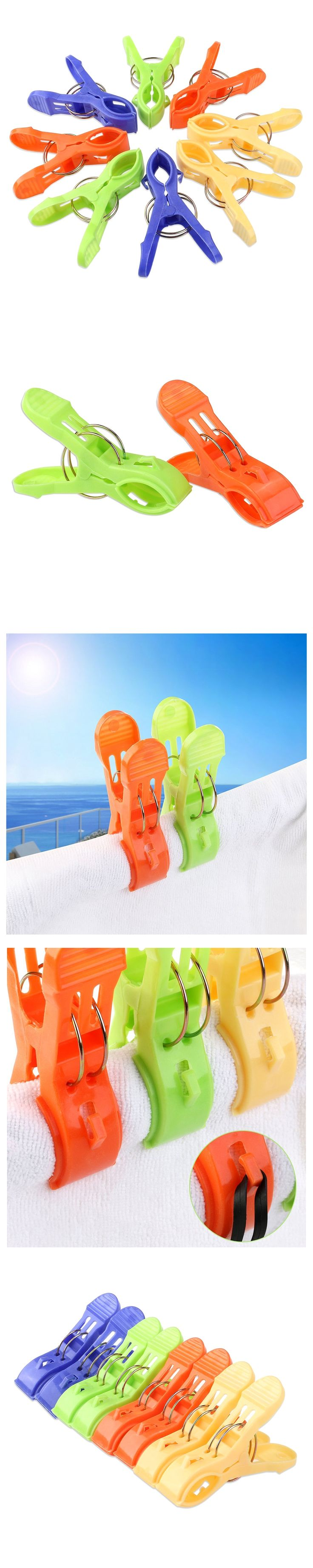 8pcs Plastic Beach Towel Clips Quilt Clips Yellow, green, blue, orange L