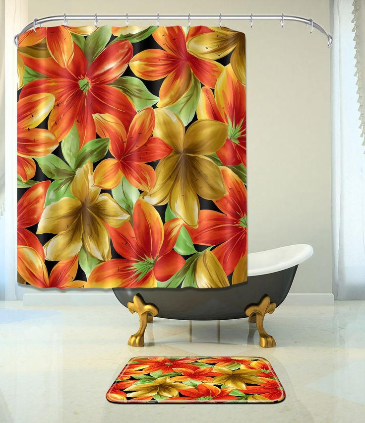"Flowers Bathroom Mat Waterproof Polyester Fabric Shower Curtain +12 Hooks 72"" 70"