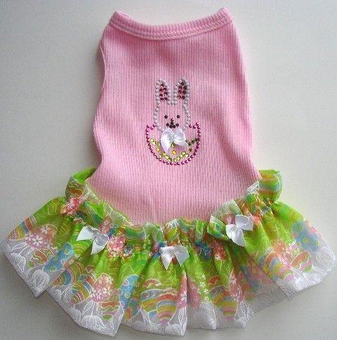 Dog Dress Bunny Tank Dog Dress With A Crystal Bunny by miascloset